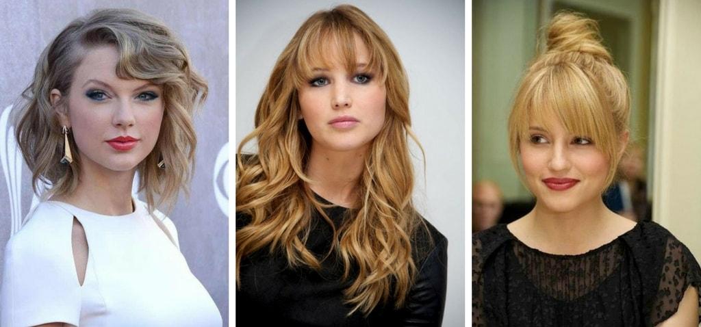 Blond fryzury z grzywką