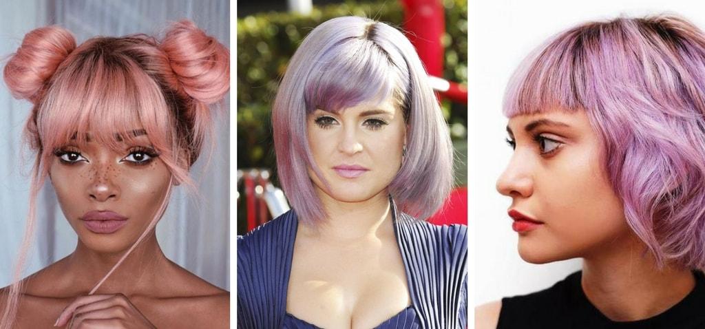 Pastelowe włosy, grzywka na pastelowych włosach