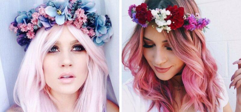 kolorowe włosy z wiankiem