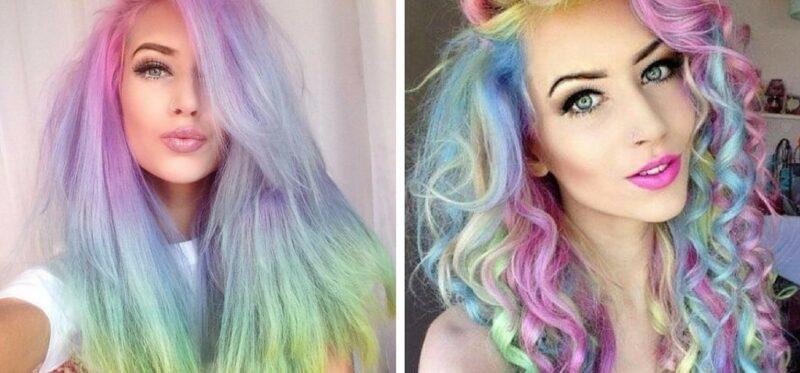 tęczowe pastelowe włosy