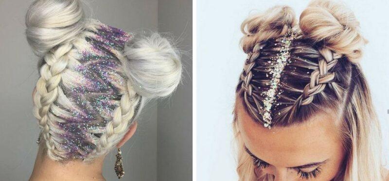 pastelowy blond z brokatem