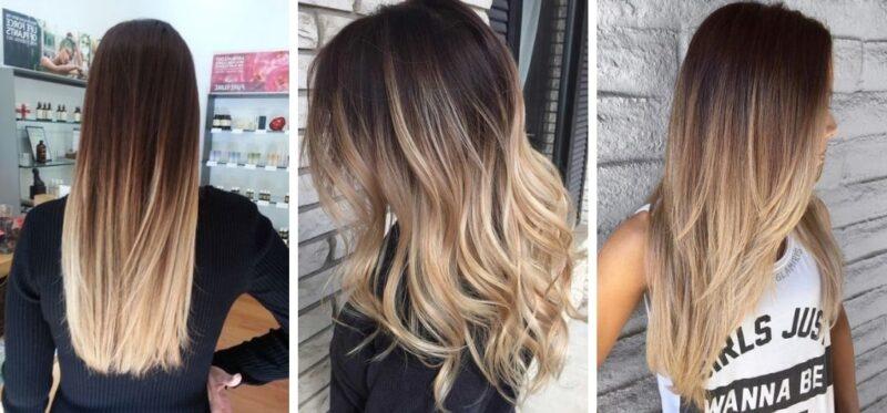 efekt ombre na długich włosach