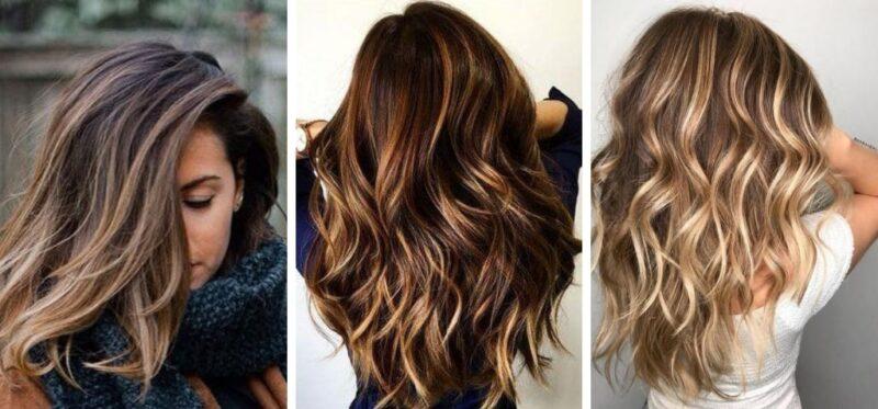 włosy brązowe z pasemkami, pasemka na brązowych włosach, refleksy na brązowych włosach
