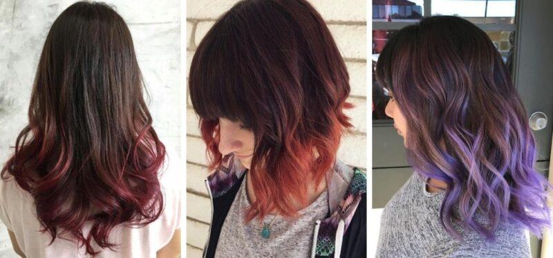 brązowe włosy refleksy, kolorowe końcówki włosów, dip dye hair