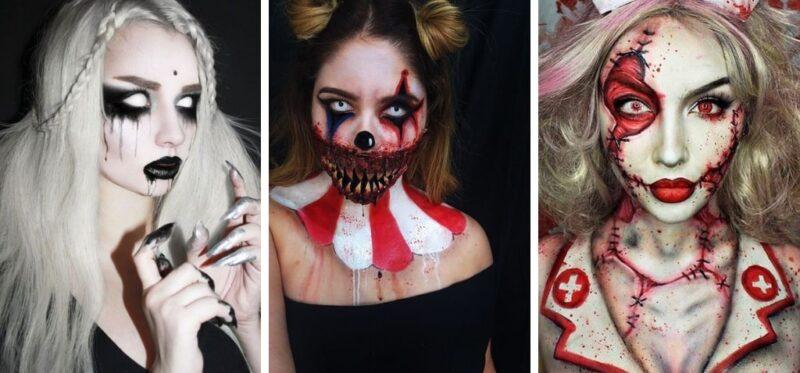 makijaż halloween z soczewkami kontaktowymi