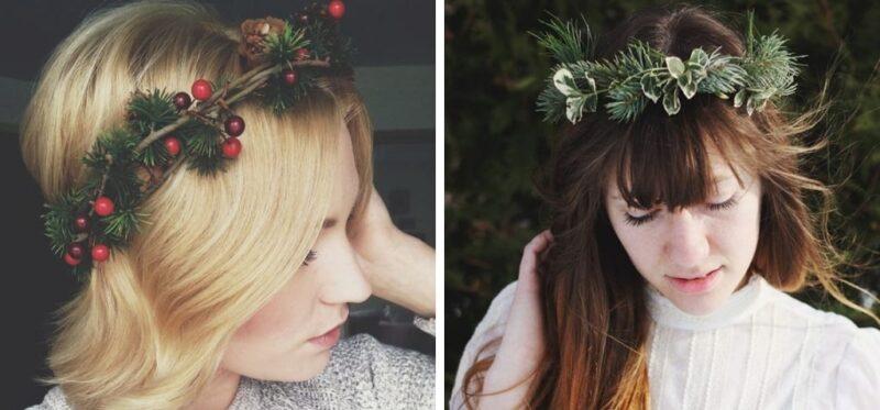 eleganckie fryzury z wiankami na boże narodzenie