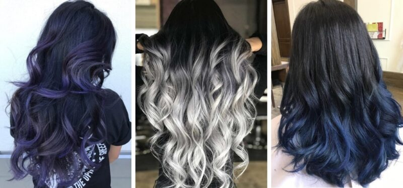 kolorowe ombre na czarnych włosach