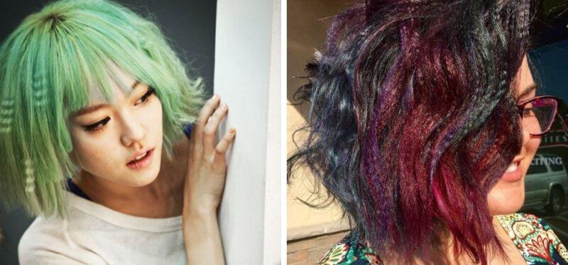 kolorowe krótkie włosy karbowane