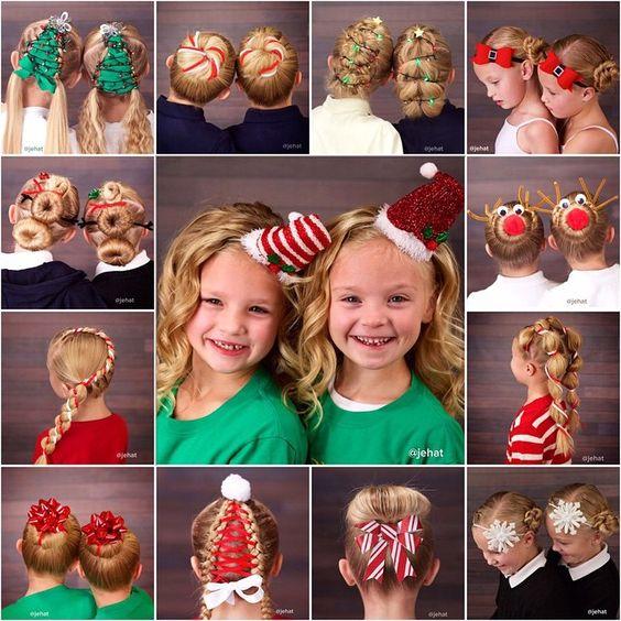 smieszne fryzury dla dziewczynek na święta, fryzury dla dziewczynek na wigilię