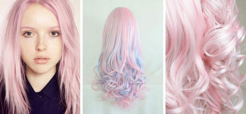 włosy w kolorze pastelowego różu
