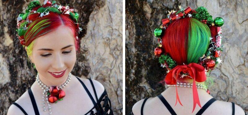 kolorowe włosy, zielone włosy, czerwone włosy, fryzury damskie na święta