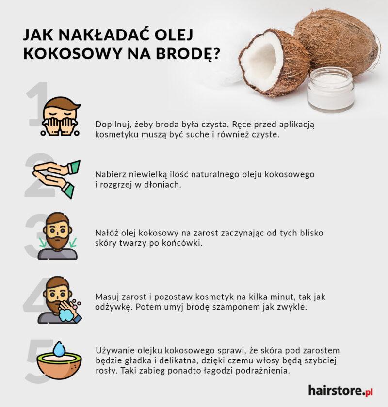 olej kokosowy może zagęścić brodę, jak olej kokosowy wpływa na brodę, jak stosować olej kokosowy dla gęstej brody
