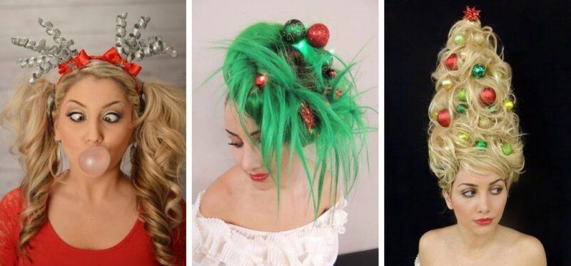 świąteczne śmieszne fryzury damskie