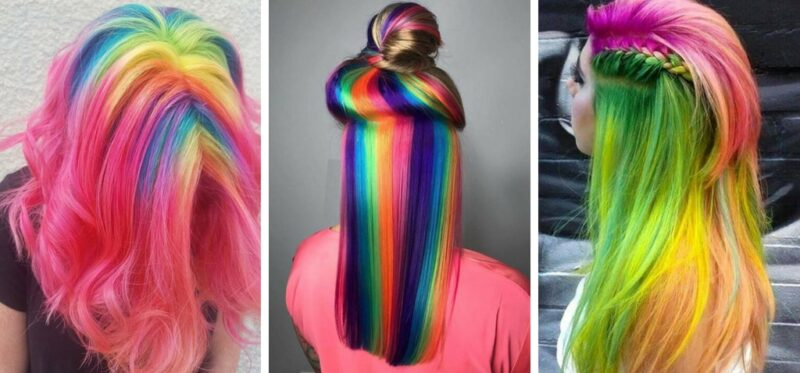 tęczowe włosy, kolorowe włosy, włosy na festiwal, trendy 2018, włosy w wakacje, kolorowa koloryzacja, pastelowe włosy