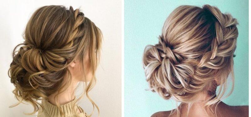 styl boho, kok z warkoczem, modne fryzury na studniówkę