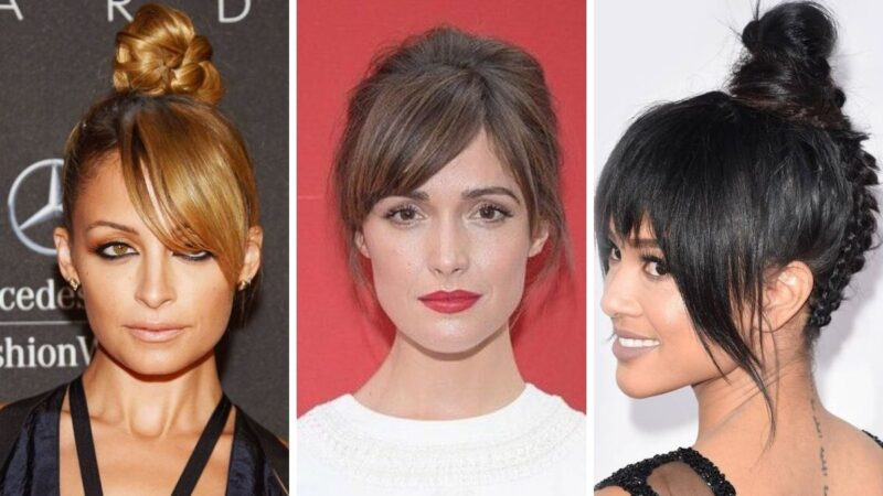 fryzury z grzywką, damskie fryzury z grzywką, fryzury studniówka 2020