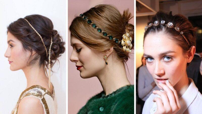 modne fryzury z opaskami, eleganckie opaski