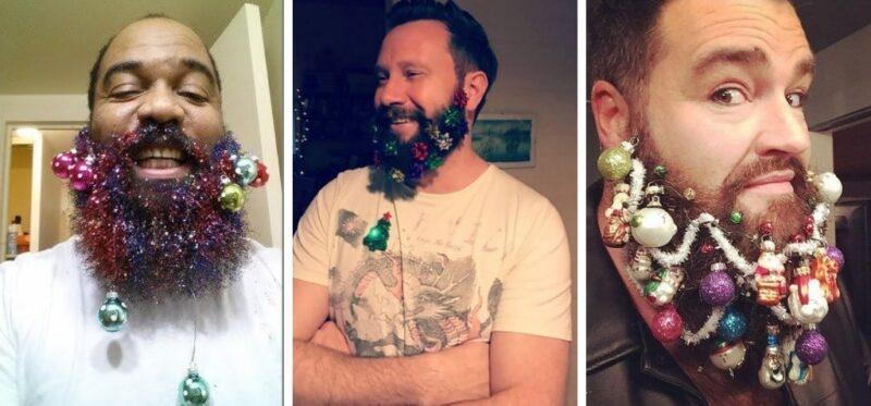 jak przystroić brodę na święta, bombki na brodzie, ozdabianie brody na święta