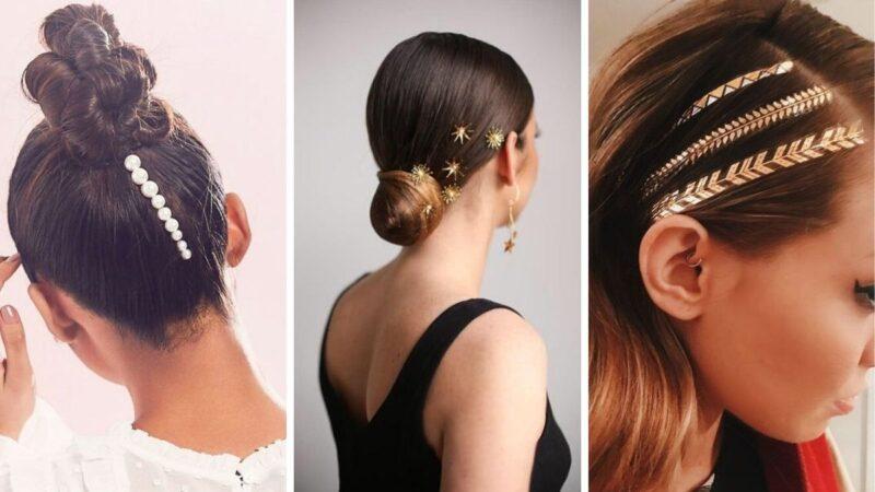 fryzury na studniówkę 2020, studniówka 2020, eleganckie spinki