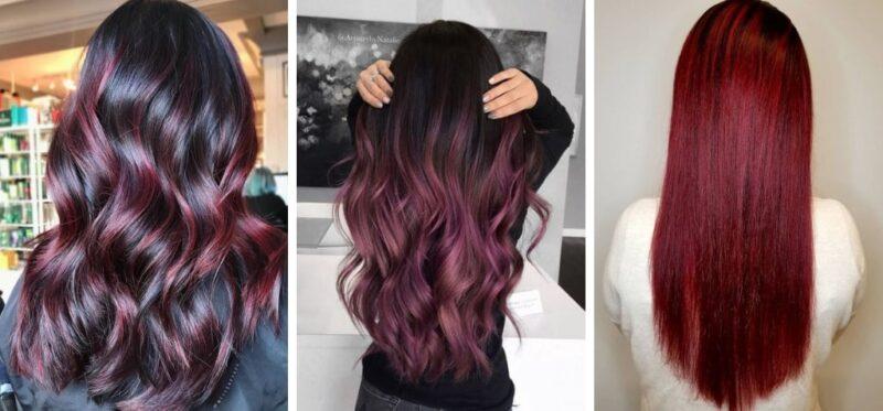 czerwone włosy, bordowe włosy, włosy czarno czerwone, czerwone pasemka na czarnych włosach