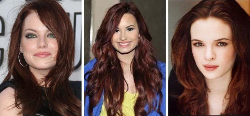 gwiazdy w ciemnych włosach, fryzury gwiazdy, wine hair, demi lovato włosy