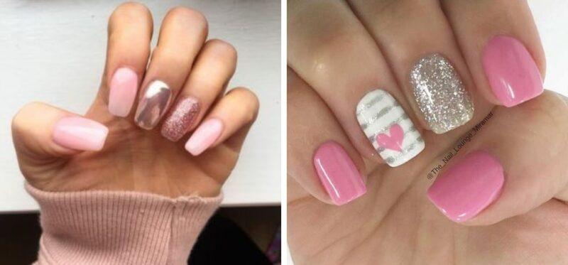 różowe paznokcie, paznokcie wzory