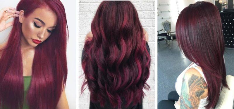 włosy czarno czerwone, włosy czerwone, wine hair