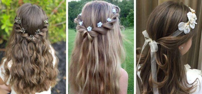 długie włosy fryzura na komunię, fryzura pierwsza komunia święta rozpuszczone włosy