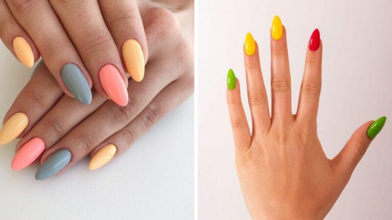 kolorowe paznokcie, tęczowe paznokcie, neonowe paznokcie, paznojcie na wiosnę