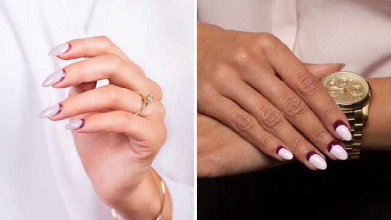 odwrócony french manicure, trendy w manicure 2019, trendy semilac