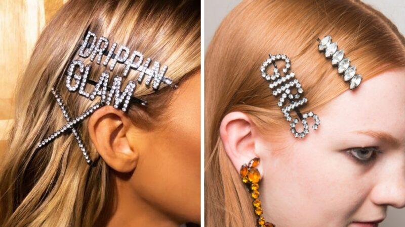 spinki do włosów z napisami