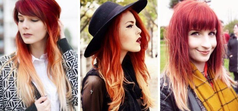 ombre na rudych włosach, rude włosy z jasnymi końcówkami