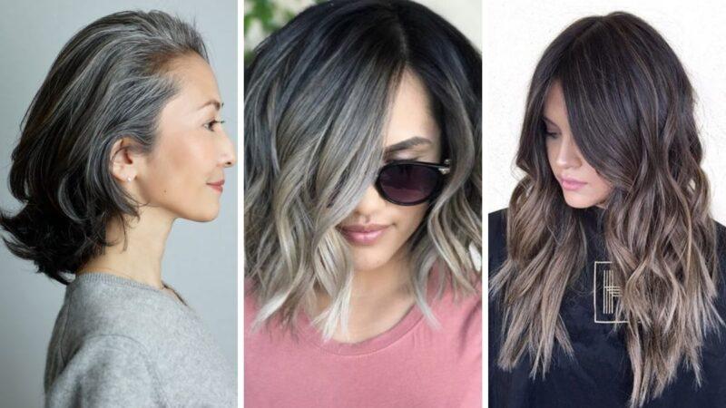 szare włosy, trendy 2019, siwe włosy, gray hair