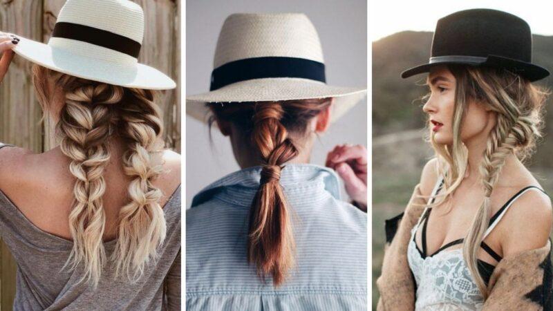 warkocz a kapelusz, jak nosić kapelusz, warkocze, koński ogon, fryzury na lato, fryzury na wakacje