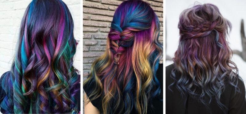 oil slick hair, ciemne kolorowe włosy