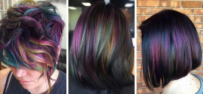 oil slick hair, krótkie kolorowe włosy