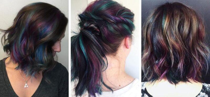 krótkie kolorowe włosy, kolory włosów paleta, farby do włosów paleta