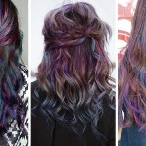 oil slick hair, tęczowe włosy, kolorowe włosy