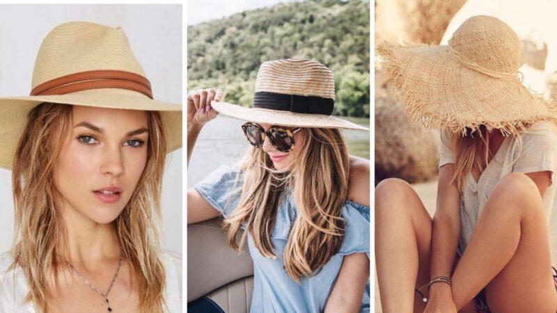 słomkowy kapelusz, kapelusz na lato, fryzury z kapeluszami
