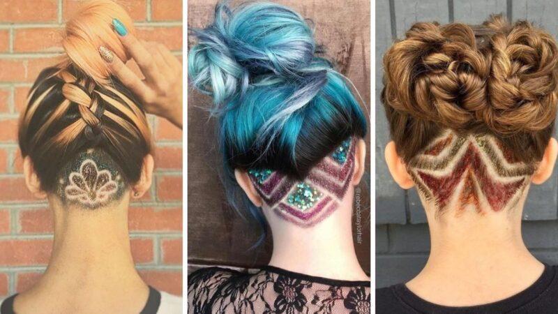 glitter undercuts, brokatowe włosy, tatuaż z włosów