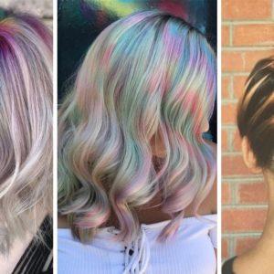 lato 2019 fryzury, tęczowe włosy, kolorowe włosy, color misting, glitter undercuts, rainbow roots