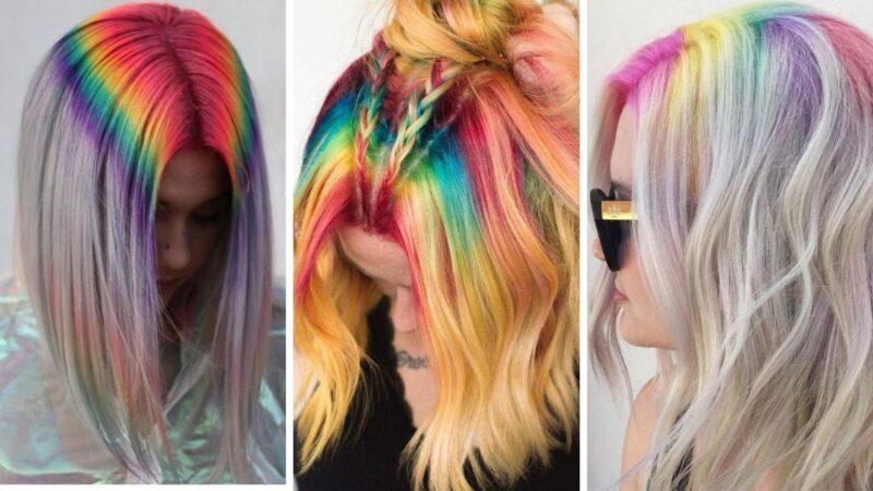 rainbow roots, kolorowy przedziałek, kolorowe włosy fryzury