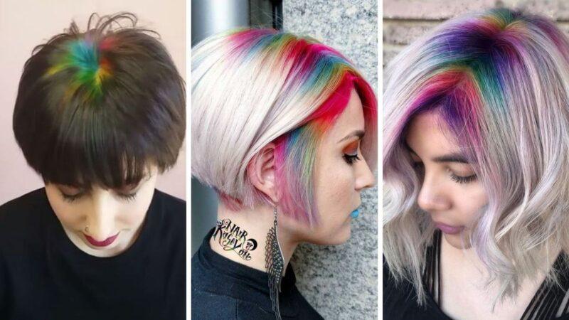 rainbow roots, kolorowy przedziałek, tęczowy przedziałek, tęczowe wlosy, koloryzacja kreatywna, koloryzacja alternatywna