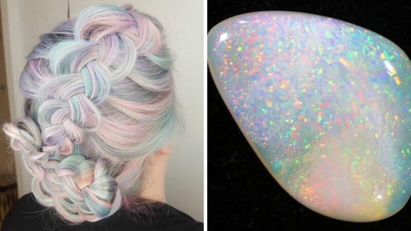 opal, pastelowe włosy, perłowe włosy, trnedy na wakacje, koloryzacja na lato