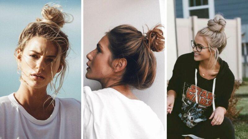 fryzury na wakacje, fryzury na upały, top knot, związane włosy