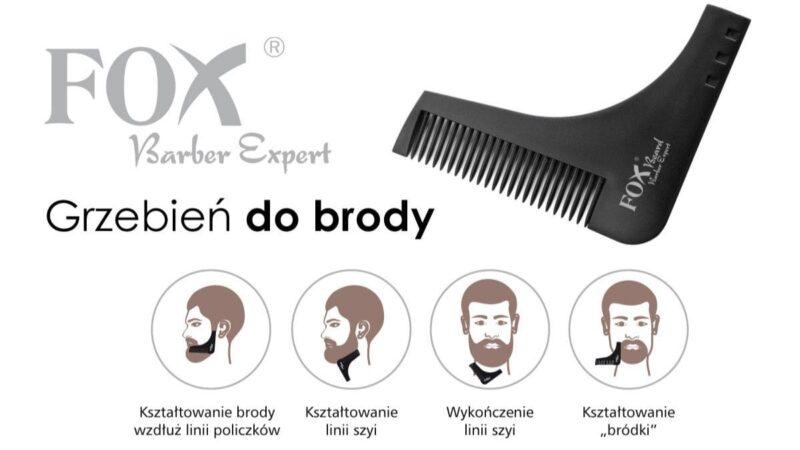 grzebień do strzyżenia brody, grzebień do brody, fox barber expert