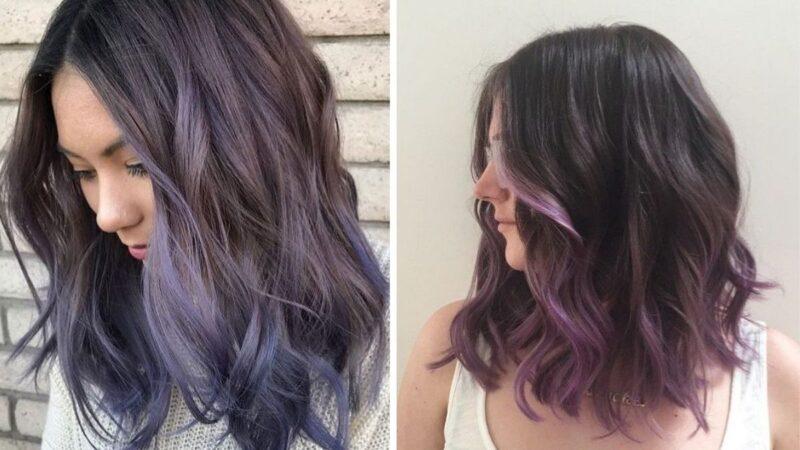 lawendowe ombre, ombre kolorowe, ombre na długich włosach