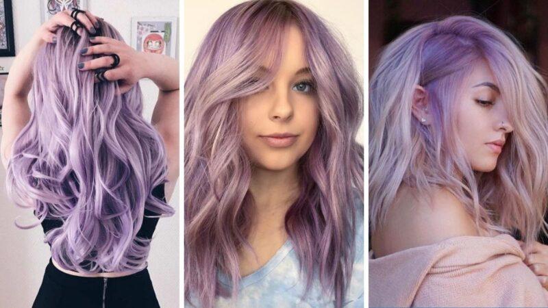 trendy 2019, lawendowy kolor włosów, długie lawendowe wlosy