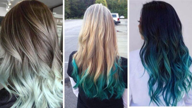 miętowe końcówki, kolorowe końcówki włosów, kolorowe włosy
