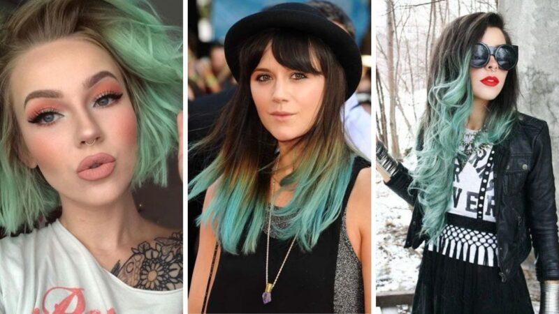 miętowe ombre, miętowy kolor włosów, włosy kolor miętowy